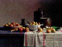 Still life with vegetables and fruit