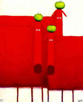 Three red dogs with apples